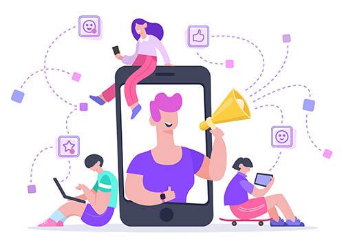 Influencer advertising marketing. Social media promotion